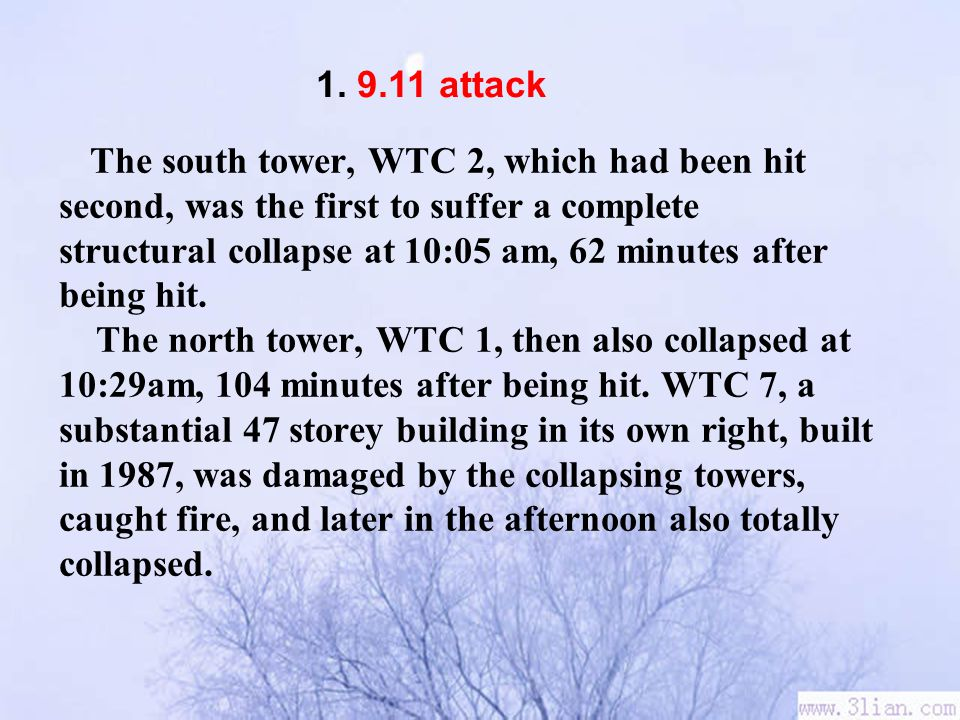 The south tower, WTC 2, which had been hit second, was the first to suffer a complete structural collapse at 10:05 am, 62 minutes after being hit.