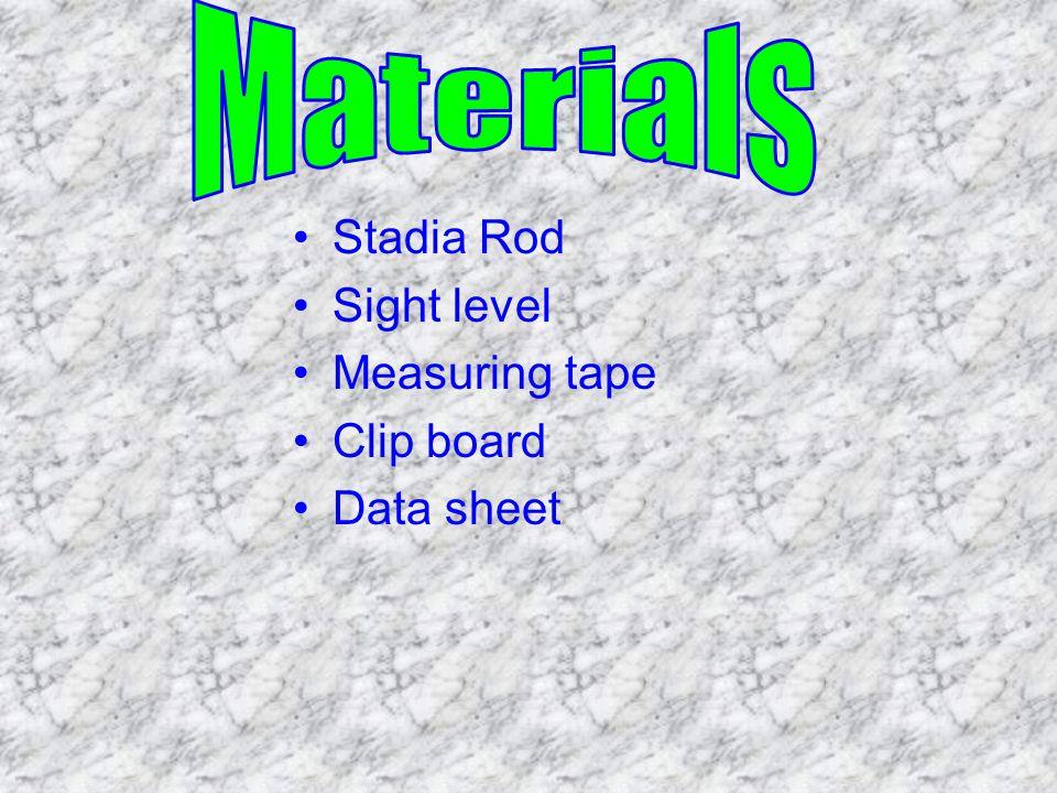 Stadia Rod Sight level Measuring tape Clip board Data sheet