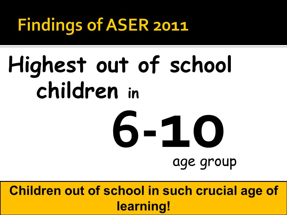 Highest out of school children in age group 6- 10 Children out of school in such crucial age of learning!