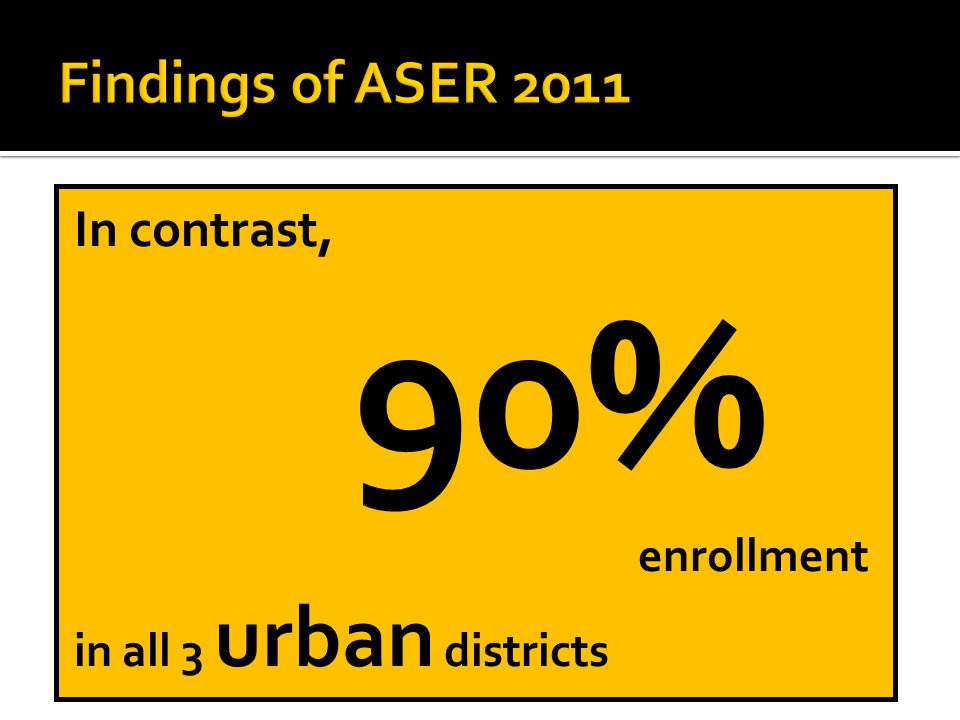 In contrast, 90% enrollment in all 3 urban districts