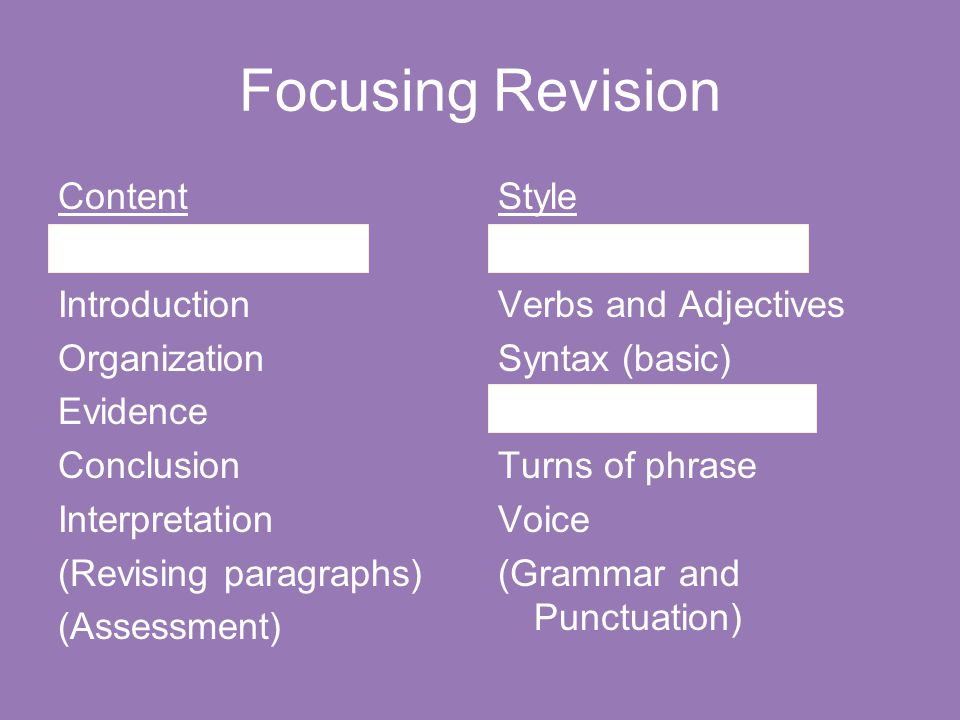 Focusing Revision Content Topic and Thesis Introduction Organization Evidence Conclusion Interpretation (Revising paragraphs) (Assessment) Style Clari