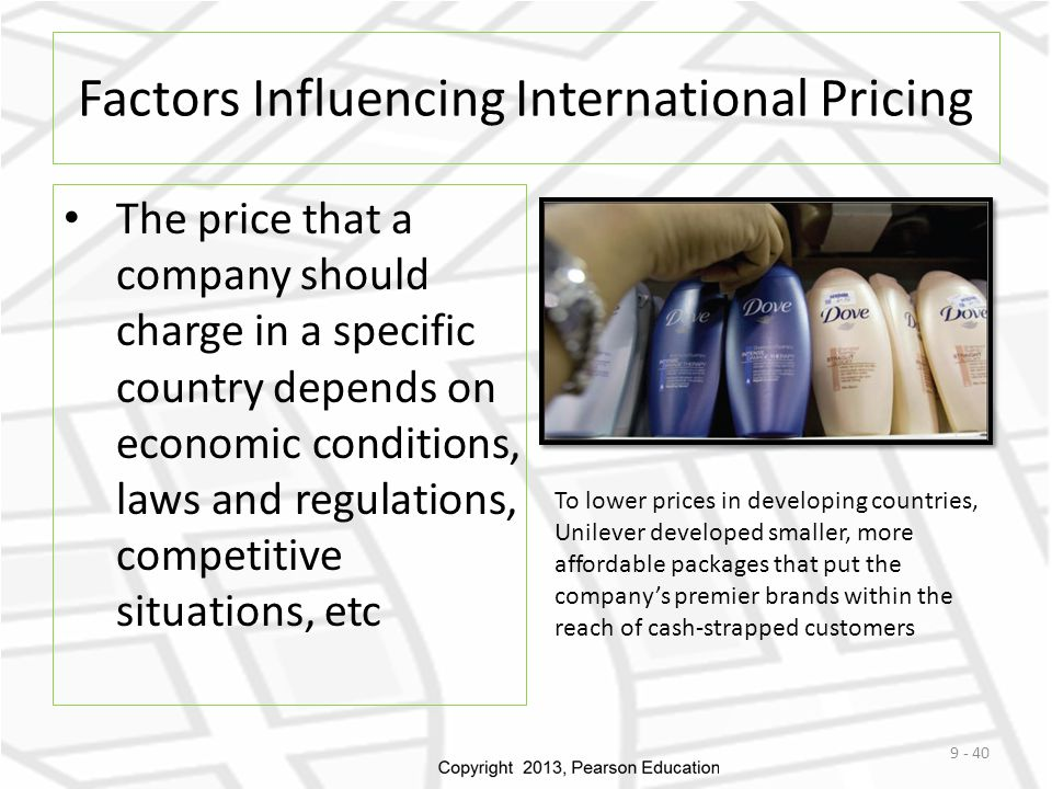 Factors Influencing International Pricing The price that a company should charge in a specific country depends on economic conditions, laws and regula