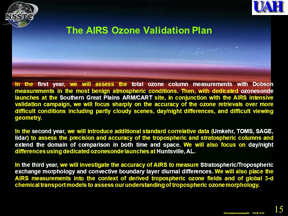 15 Mike3/papers/tropoz/aguf98 12/2/98 16:30 The AIRS Ozone Validation Plan In the first year, we will assess the total ozone column measurements with Dobson measurements in the most benign atmospheric conditions.
