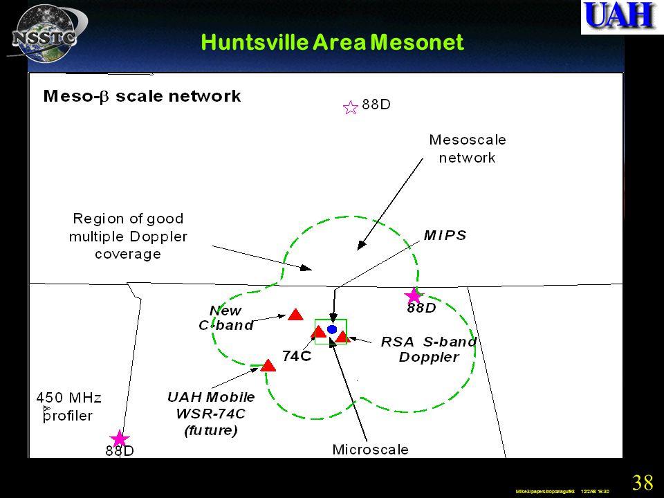 38 Mike3/papers/tropoz/aguf98 12/2/98 16:30 Huntsville Area Mesonet