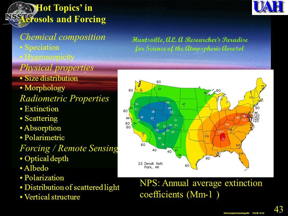 43 Mike3/papers/tropoz/aguf98 12/2/98 16:30 NPS: Annual average extinction coefficients (Mm -1 ) Huntsville, AL.