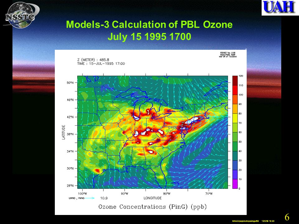 37 Mike3/papers/tropoz/aguf98 12/2/98 16:30 Example of MSFC Ground-based Doppler Lidar
