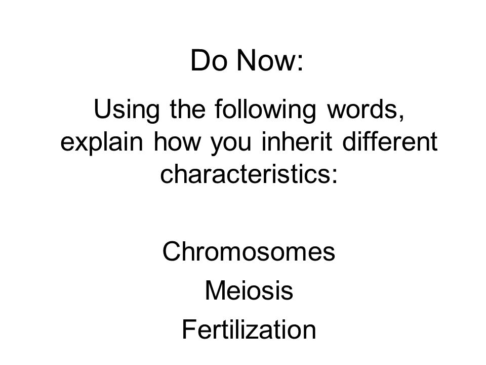Do Now: Using the following words, explain how you inherit different characteristics: Chromosomes Meiosis Fertilization