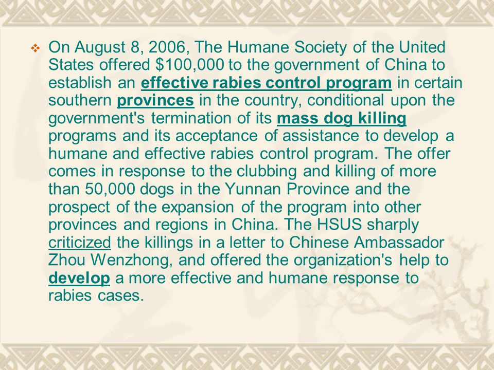  On August 8, 2006, The Humane Society of the United States offered $100,000 to the government of China to establish an effective rabies control program in certain southern provinces in the country, conditional upon the government s termination of its mass dog killing programs and its acceptance of assistance to develop a humane and effective rabies control program.
