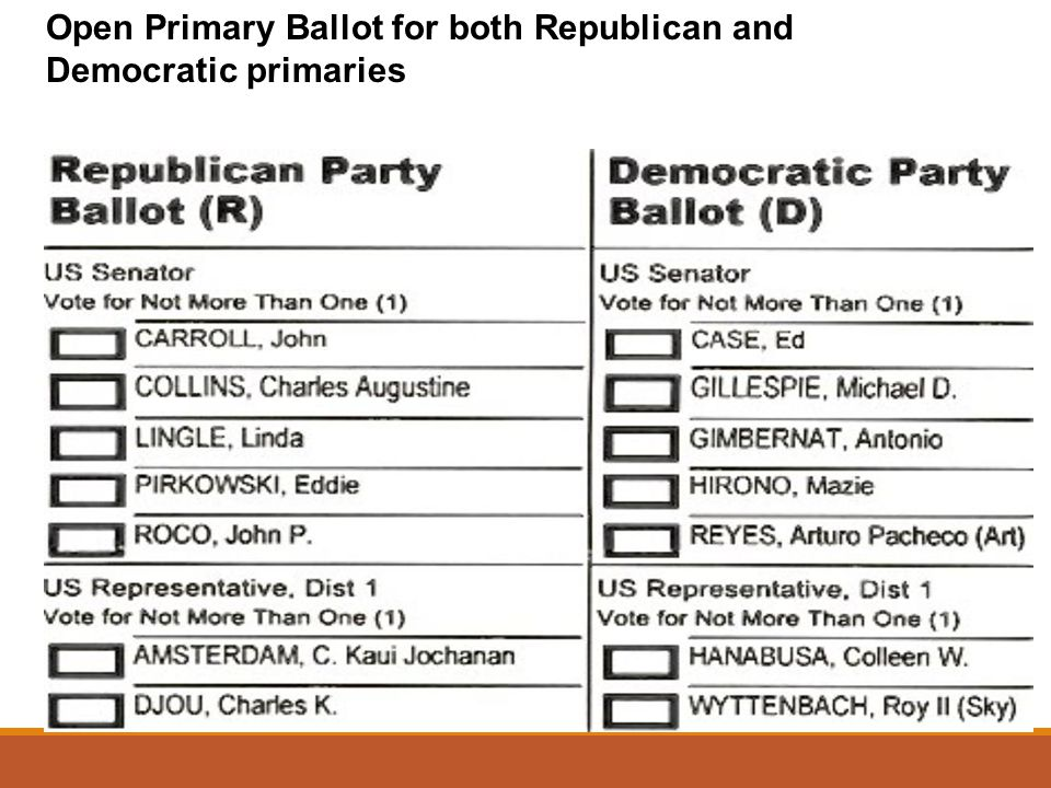 Open Primary Ballot for both Republican and Democratic primaries