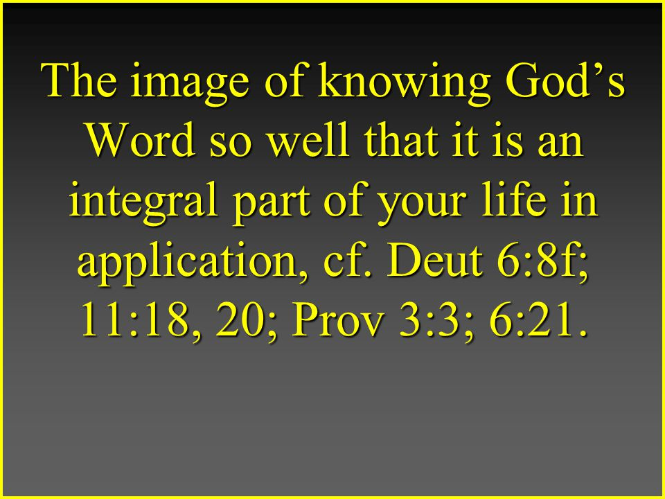 The image of knowing God's Word so well that it is an integral part of your life in application, cf.