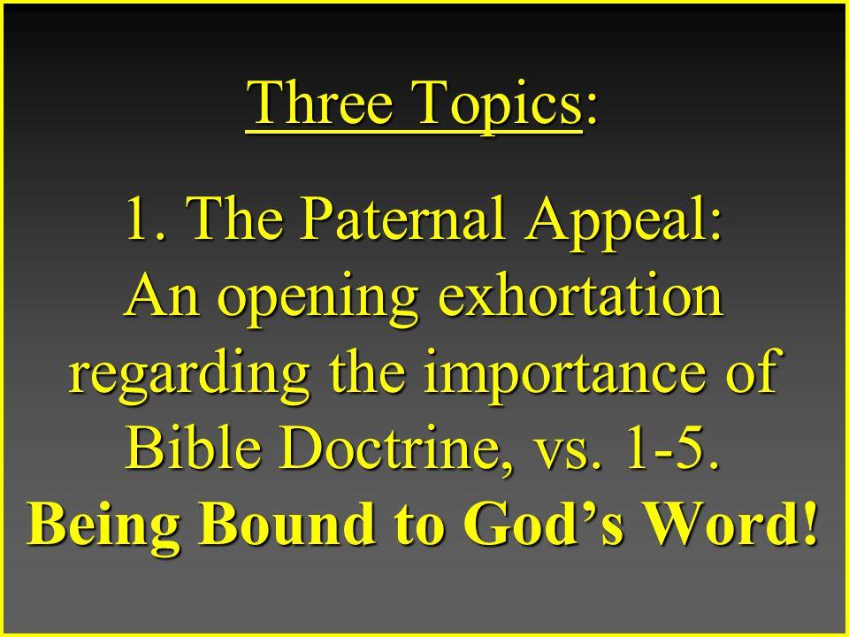 Three Topics: 1.