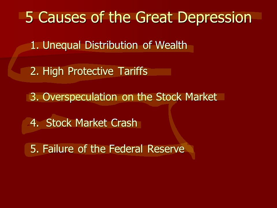 5 Causes of the Great Depression 1. Unequal Distribution of Wealth 1.