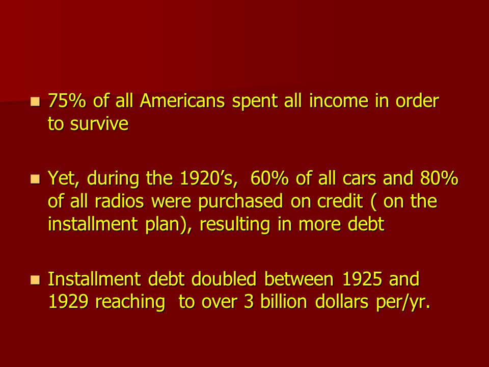 75% of all Americans spent all income in order to survive 75% of all Americans spent all income in order to survive Yet, during the 1920's, 60% of all cars and 80% of all radios were purchased on credit ( on the installment plan), resulting in more debt Yet, during the 1920's, 60% of all cars and 80% of all radios were purchased on credit ( on the installment plan), resulting in more debt Installment debt doubled between 1925 and 1929 reaching to over 3 billion dollars per/yr.