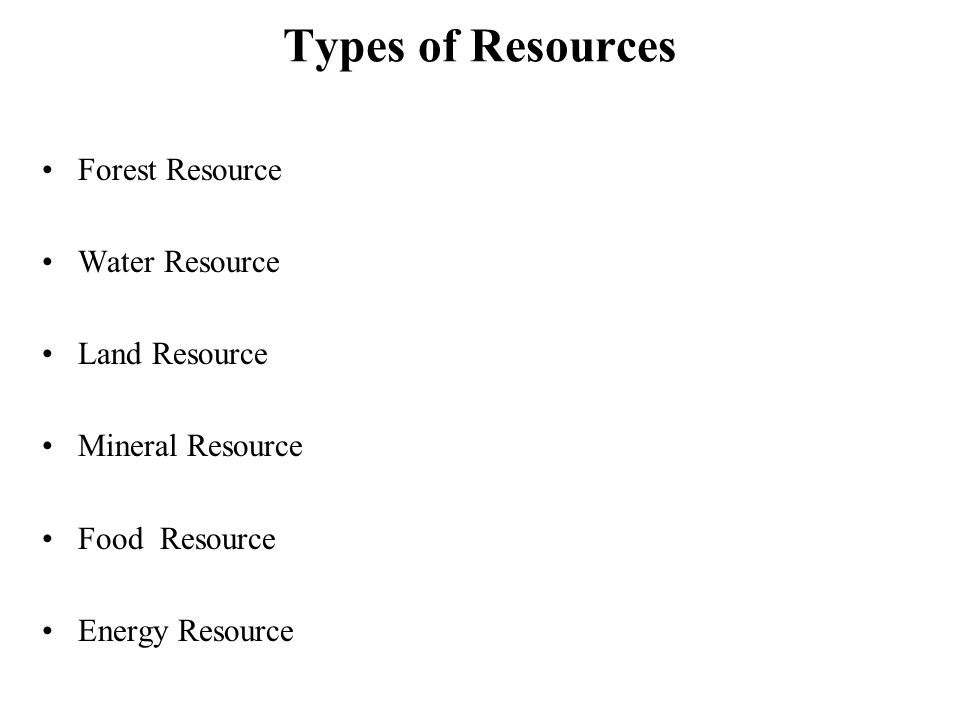 Types of Resources Forest Resource Water Resource Land Resource Mineral Resource Food Resource Energy Resource