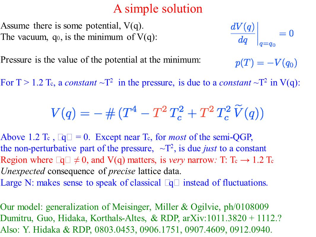 A simple solution Our model: generalization of Meisinger, Miller & Ogilvie, ph/0108009 Dumitru, Guo, Hidaka, Korthals-Altes, & RDP, arXiv:1011.3820 + 1112..