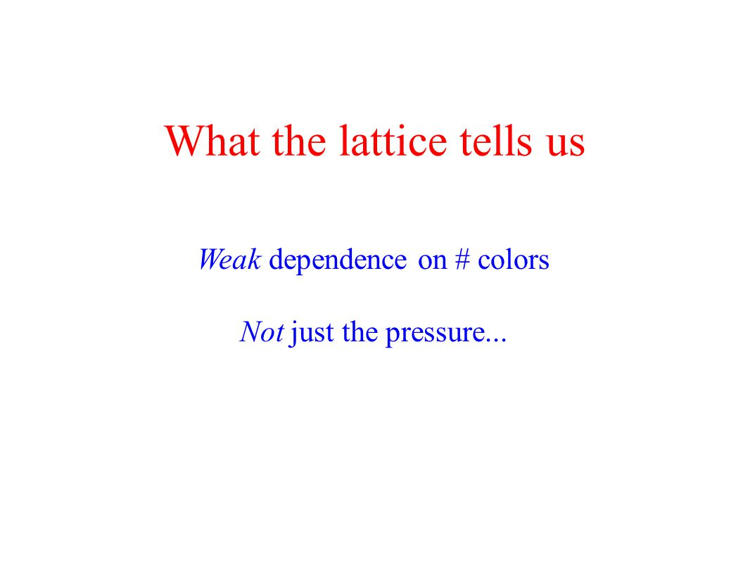 What the lattice tells us Weak dependence on # colors Not just the pressure...
