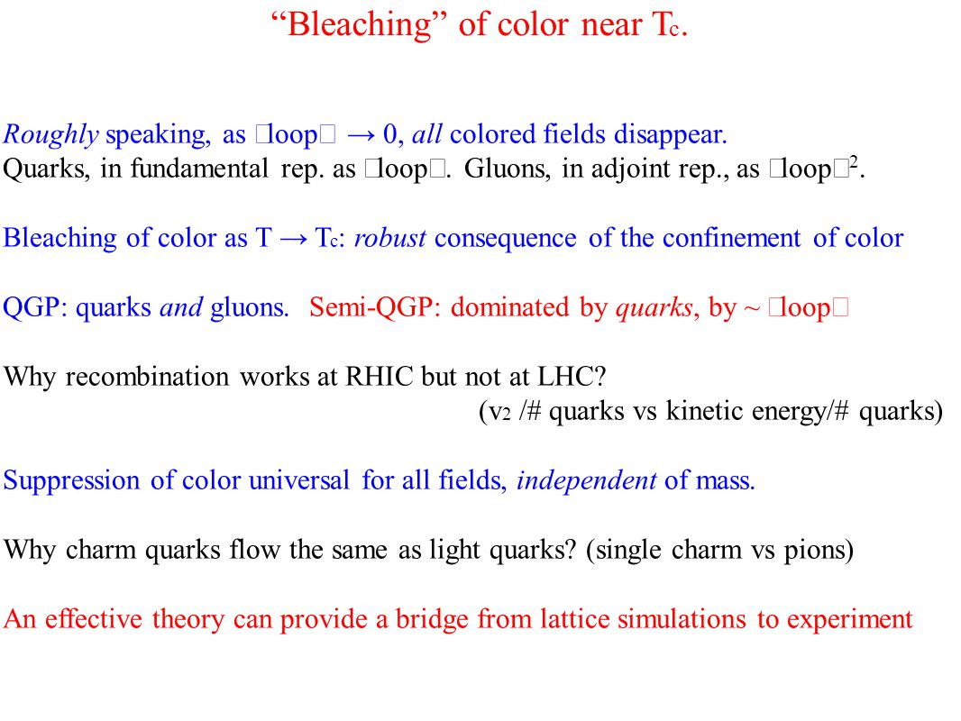 Bleaching of color near T c. Roughly speaking, as 〈 loop 〉 → 0, all colored fields disappear.