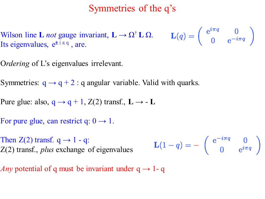 Symmetries of the q's Wilson line L not gauge invariant, L → Ω † L Ω.