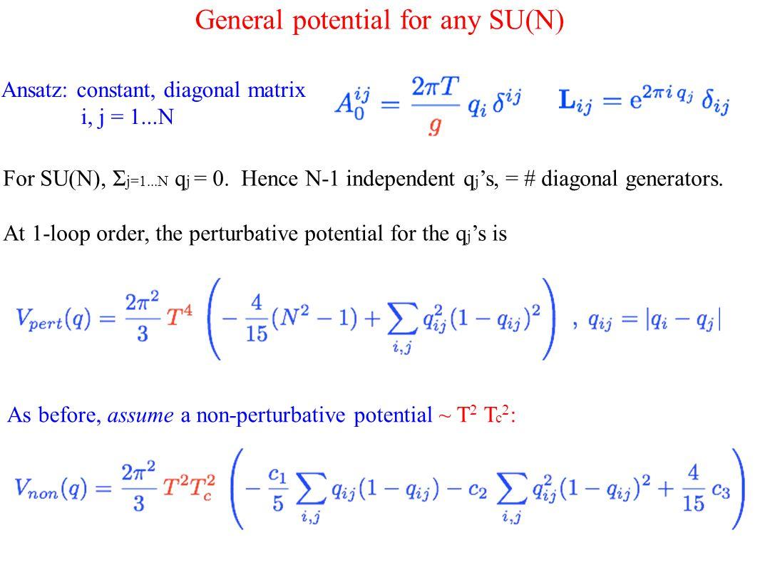 General potential for any SU(N) For SU(N), Σ j=1...N q j = 0.