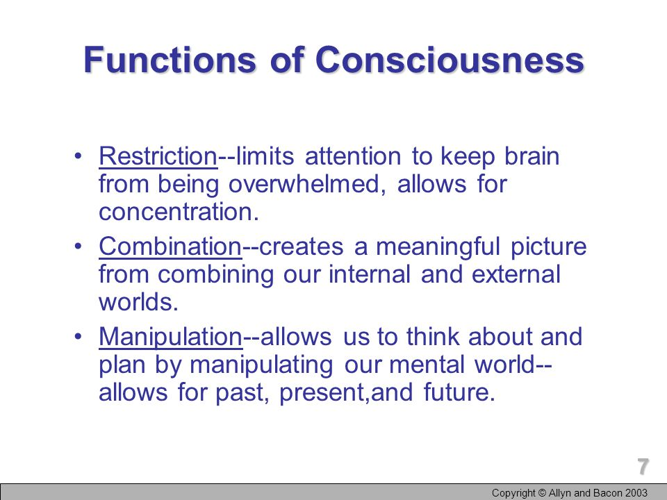 6 Levels of Consciousness Preconscious--information not currently in consciousness but can be recalled to consciousness voluntarily or after something calls attention to it.