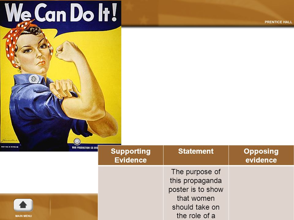 Supporting Evidence StatementOpposing evidence The purpose of this propaganda poster is to show that women should take on the role of a housewife.