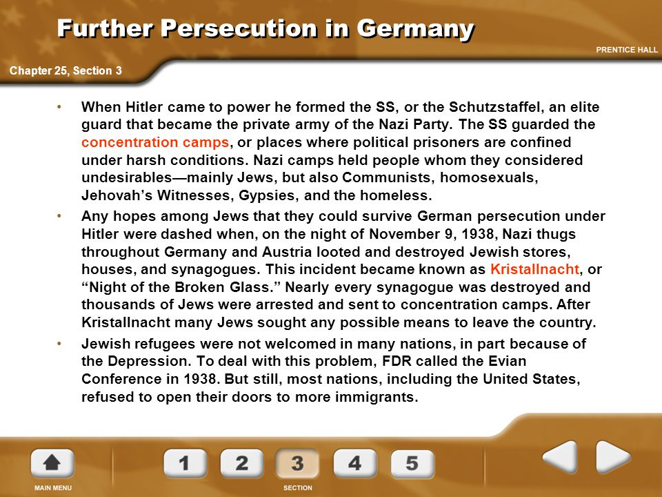 Further Persecution in Germany When Hitler came to power he formed the SS, or the Schutzstaffel, an elite guard that became the private army of the Na