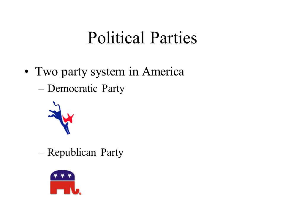 Political Parties Two party system in America –Democratic Party –Republican Party