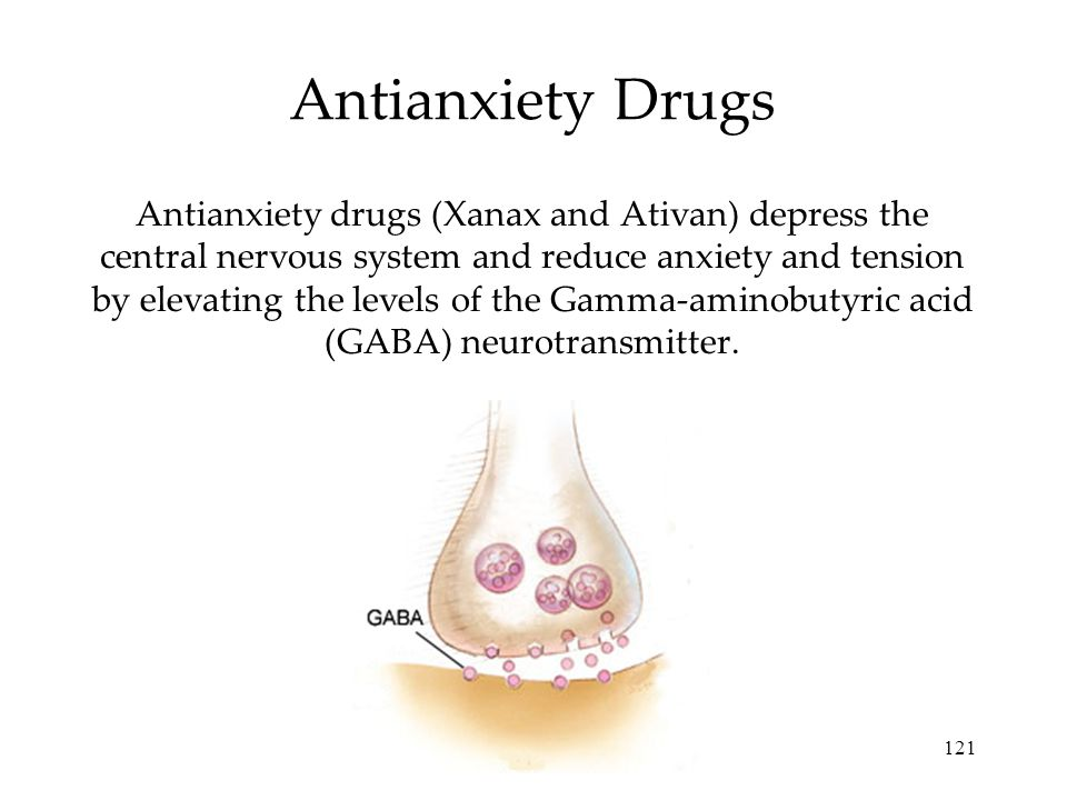 121 Antianxiety Drugs Antianxiety drugs (Xanax and Ativan) depress the central nervous system and reduce anxiety and tension by elevating the levels of the Gamma-aminobutyric acid (GABA) neurotransmitter.