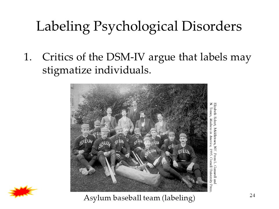 24 Labeling Psychological Disorders 1.Critics of the DSM-IV argue that labels may stigmatize individuals.