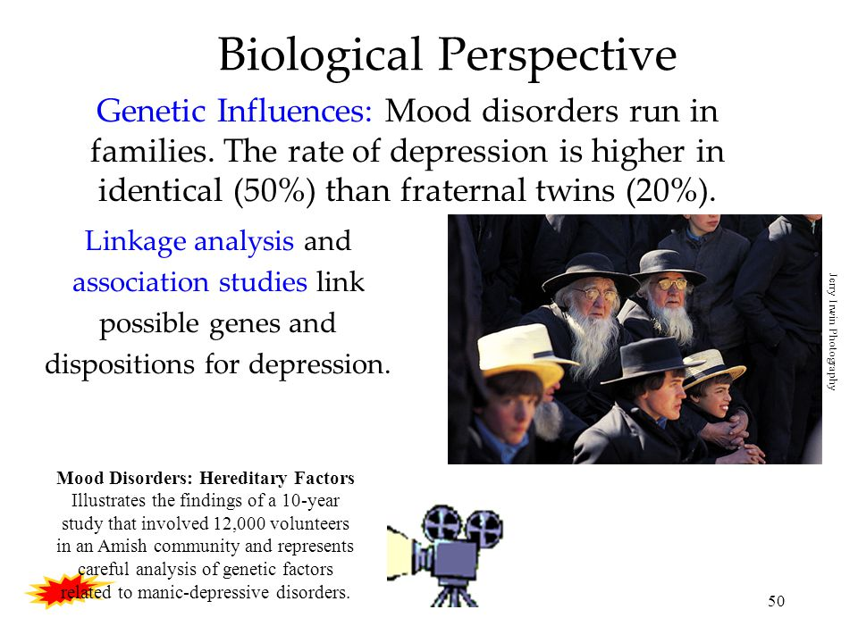 50 Biological Perspective Genetic Influences: Mood disorders run in families.