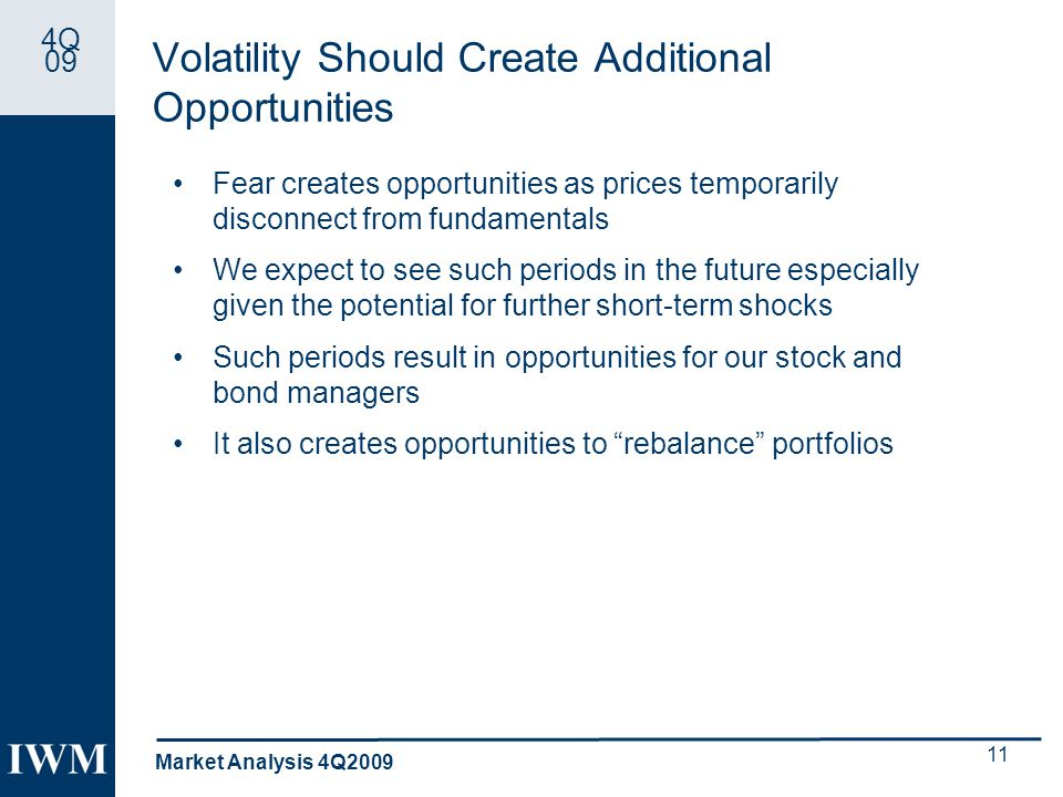 4Q 09 Volatility Should Create Additional Opportunities Fear creates opportunities as prices temporarily disconnect from fundamentals We expect to see such periods in the future especially given the potential for further short-term shocks Such periods result in opportunities for our stock and bond managers It also creates opportunities to rebalance portfolios Market Analysis 4Q2009 11