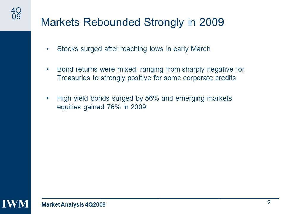 4Q 09 Markets Rebounded Strongly in 2009 Stocks surged after reaching lows in early March Bond returns were mixed, ranging from sharply negative for Treasuries to strongly positive for some corporate credits High-yield bonds surged by 56% and emerging-markets equities gained 76% in 2009 Market Analysis 4Q2009 2
