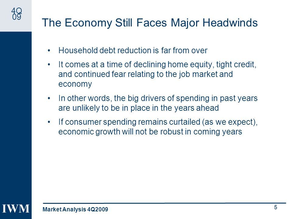 4Q 09 The Economy Still Faces Major Headwinds Household debt reduction is far from over It comes at a time of declining home equity, tight credit, and continued fear relating to the job market and economy In other words, the big drivers of spending in past years are unlikely to be in place in the years ahead If consumer spending remains curtailed (as we expect), economic growth will not be robust in coming years Market Analysis 4Q2009 5