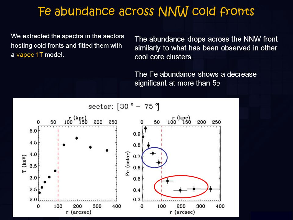 Fe abundance across NNW cold fronts We extracted the spectra in the sectors hosting cold fronts and fitted them with a vapec 1T model.