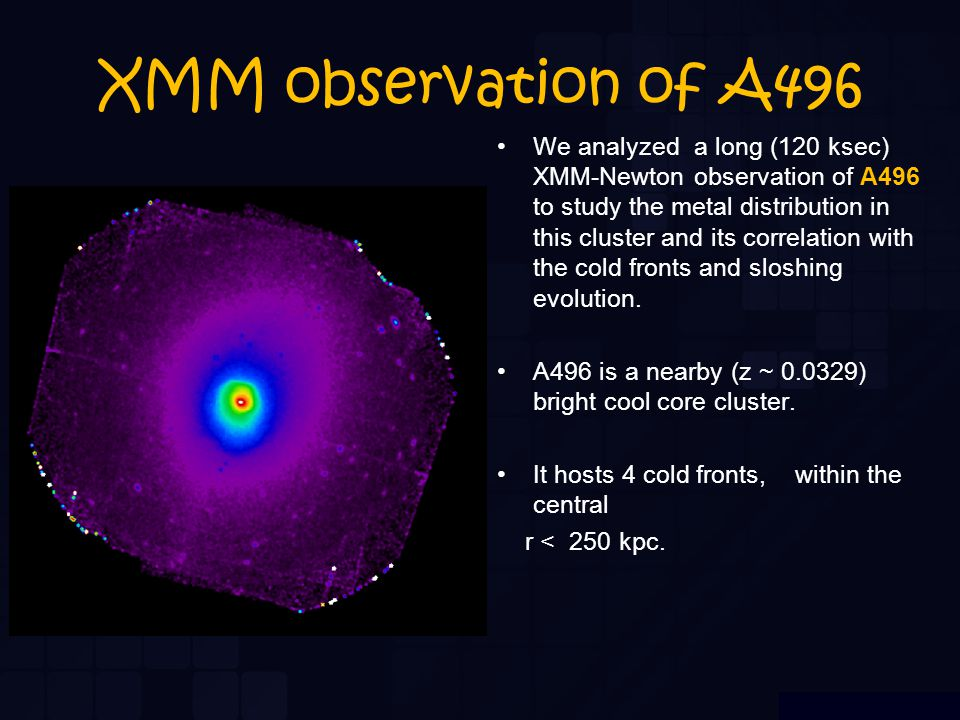 XMM observation of A496 We analyzed a long (120 ksec) XMM-Newton observation of A496 to study the metal distribution in this cluster and its correlation with the cold fronts and sloshing evolution.