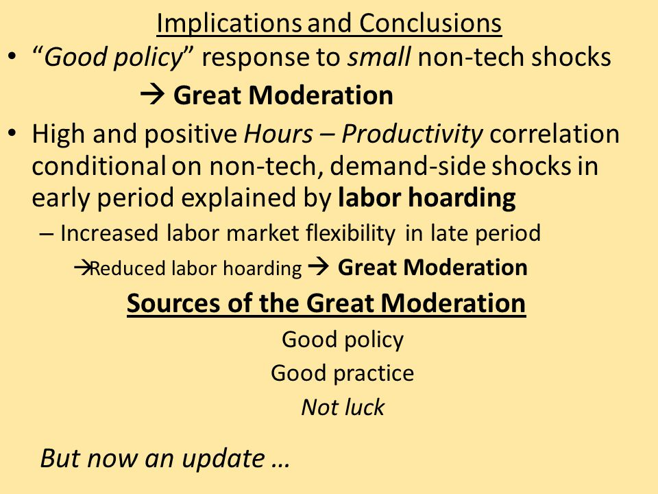 Implications and Conclusions Good policy response to small non-tech shocks  Great Moderation High and positive Hours – Productivity correlation conditional on non-tech, demand-side shocks in early period explained by labor hoarding – Increased labor market flexibility in late period  Reduced labor hoarding  Great Moderation Sources of the Great Moderation Good policy Good practice Not luck But now an update …