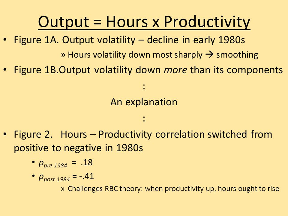 Output = Hours x Productivity Figure 1A. Output volatility – decline in early 1980s » Hours volatility down most sharply  smoothing Figure 1B.Output