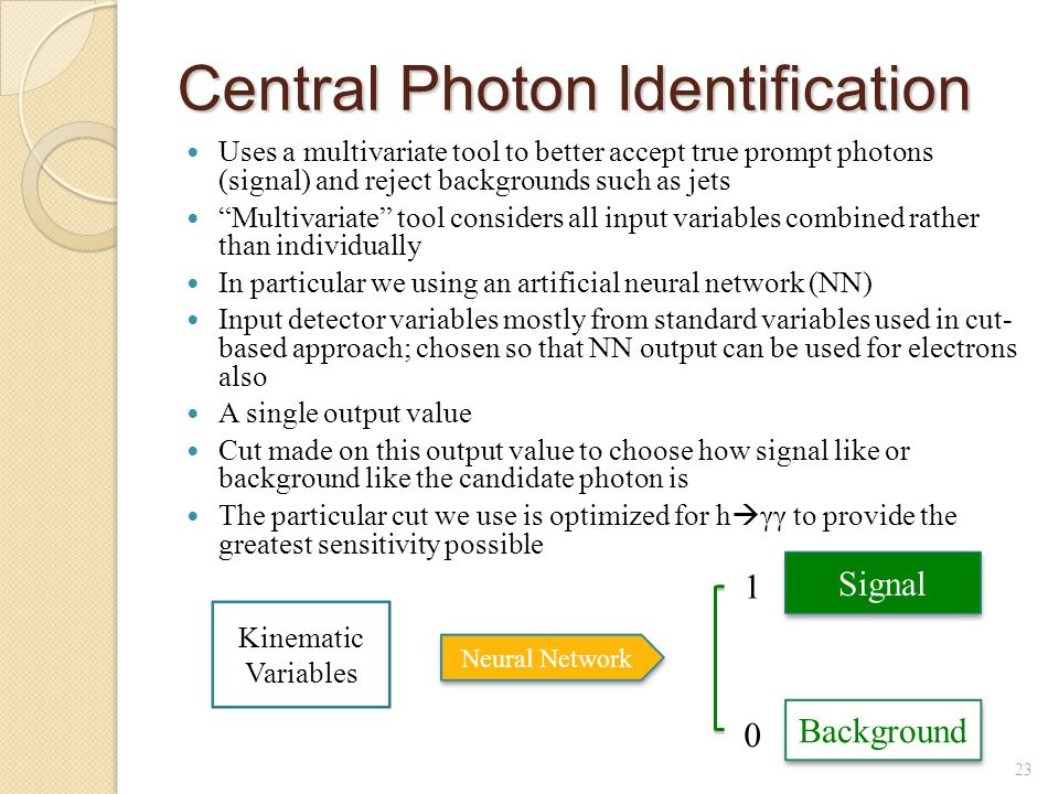 Central Photon Identification Uses a multivariate tool to better accept true prompt photons (signal) and reject backgrounds such as jets Multivariate tool considers all input variables combined rather than individually In particular we using an artificial neural network (NN) Input detector variables mostly from standard variables used in cut- based approach; chosen so that NN output can be used for electrons also A single output value Cut made on this output value to choose how signal like or background like the candidate photon is The particular cut we use is optimized for h  γγ to provide the greatest sensitivity possible 23 Kinematic Variables Neural Network Background Signal 0 1