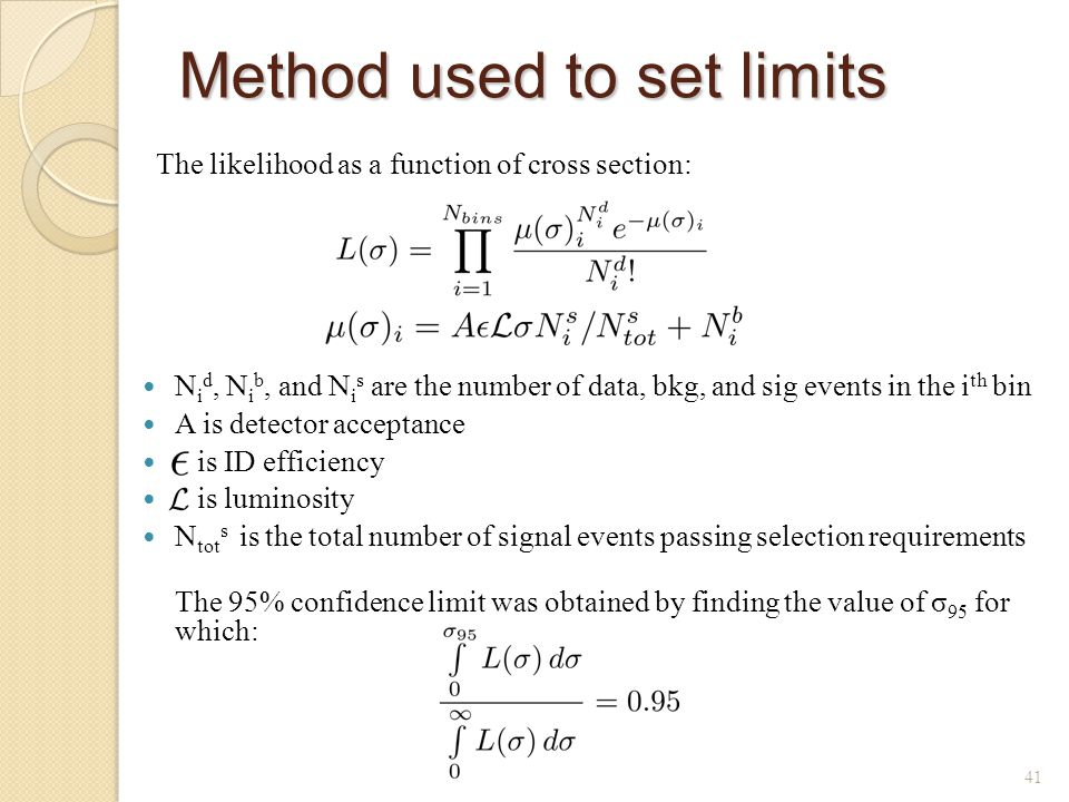 Method used to set limits The likelihood as a function of cross section: 41 N i d, N i b, and N i s are the number of data, bkg, and sig events in the i th bin A is detector acceptance is ID efficiency is luminosity N tot s is the total number of signal events passing selection requirements The 95% confidence limit was obtained by finding the value of σ 95 for which: