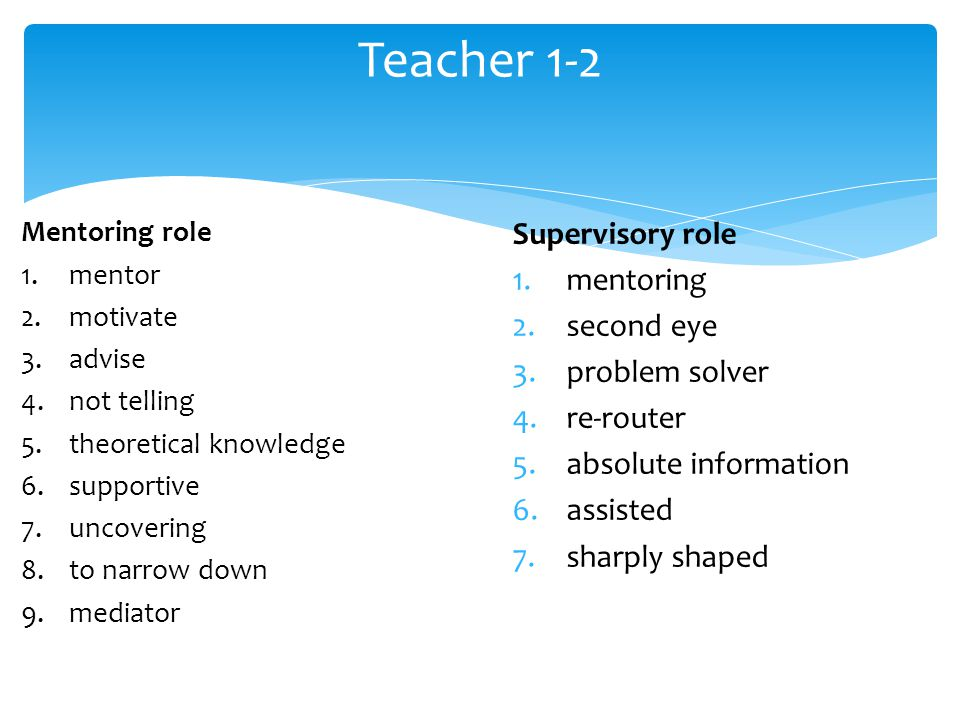 Supervisory role 1.mentoring 2.second eye 3.problem solver 4.re-router 5.absolute information 6.assisted 7.sharply shaped Teacher 1-2 Mentoring role 1.mentor 2.motivate 3.advise 4.not telling 5.theoretical knowledge 6.supportive 7.uncovering 8.to narrow down 9.mediator
