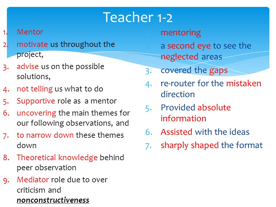 1.mentoring 2.a second eye to see the neglected areas 3.covered the gaps 4.re-router for the mistaken direction 5.Provided absolute information 6.Assisted with the ideas 7.sharply shaped the format Teacher 1-2 1.Mentor 2.motivate us throughout the project, 3.advise us on the possible solutions, 4.not telling us what to do 5.Supportive role as a mentor 6.uncovering the main themes for our following observations, and 7.to narrow down these themes down 8.Theoretical knowledge behind peer observation 9.Mediator role due to over criticism and nonconstructiveness