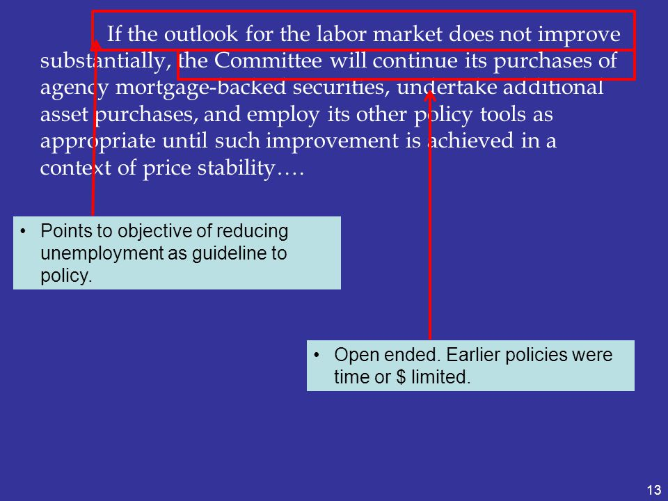 If the outlook for the labor market does not improve substantially, the Committee will continue its purchases of agency mortgage-backed securities, undertake additional asset purchases, and employ its other policy tools as appropriate until such improvement is achieved in a context of price stability….