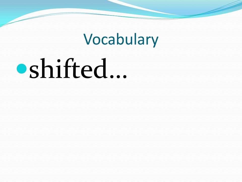 Vocabulary shifted…