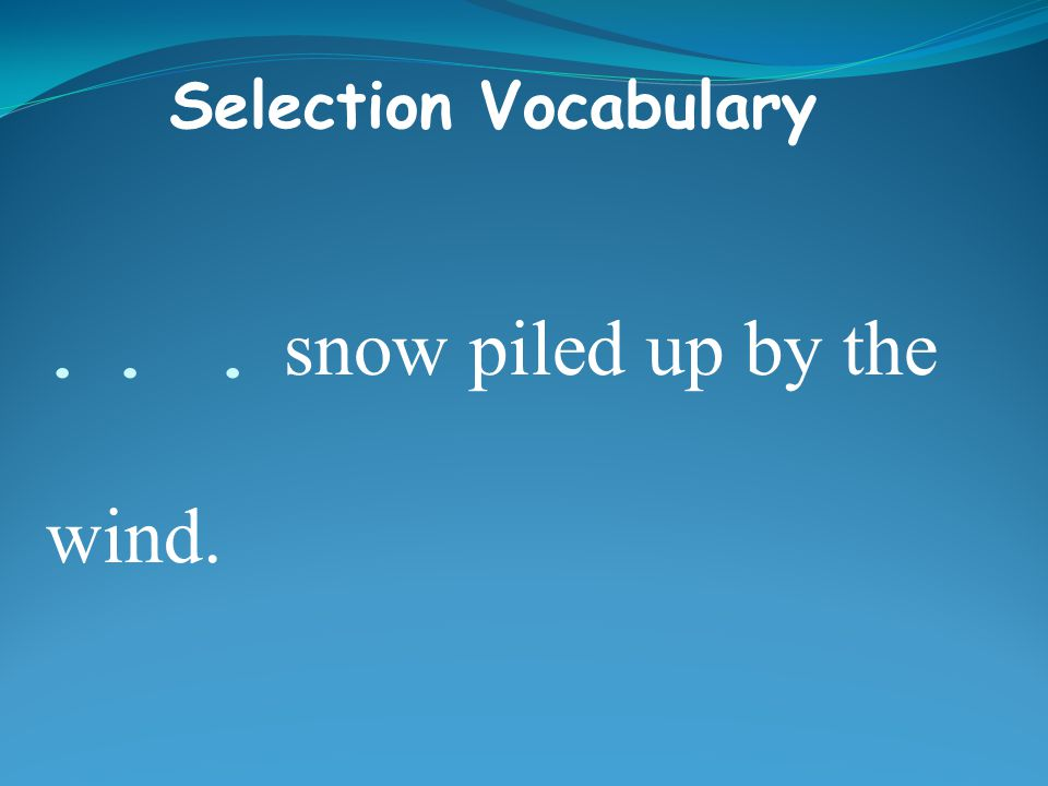 ... snow piled up by the wind. Selection Vocabulary