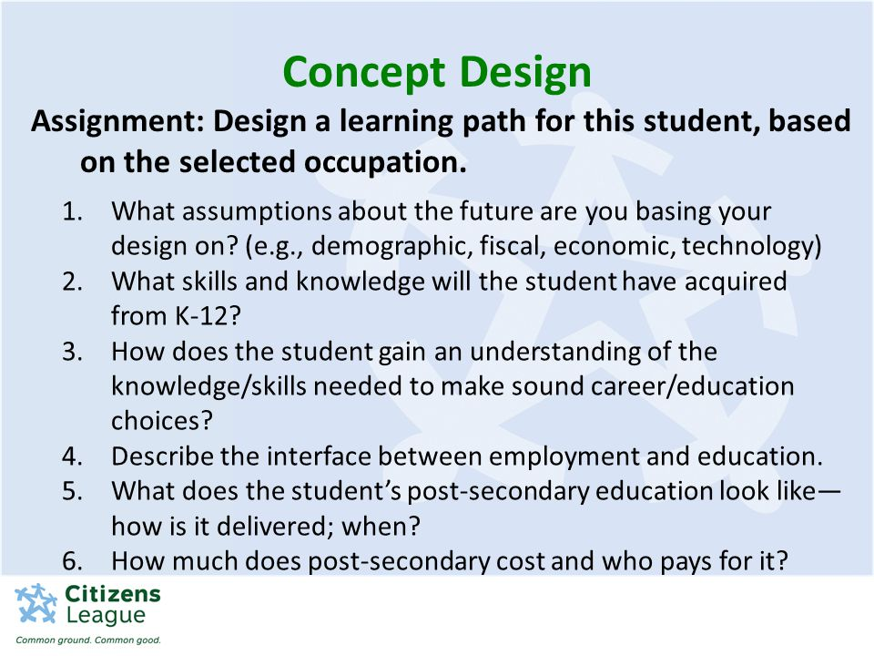 Concept Design Assignment: Design a learning path for this student, based on the selected occupation.