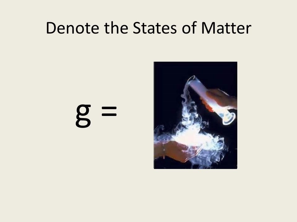 Denote the States of Matter g = gasses s = solids l = liquids aq = species in solution in water