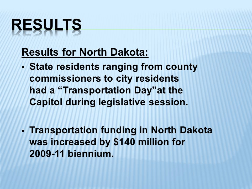 Results for North Dakota:  State residents ranging from county commissioners to city residents had a Transportation Day at the Capitol during legislative session.