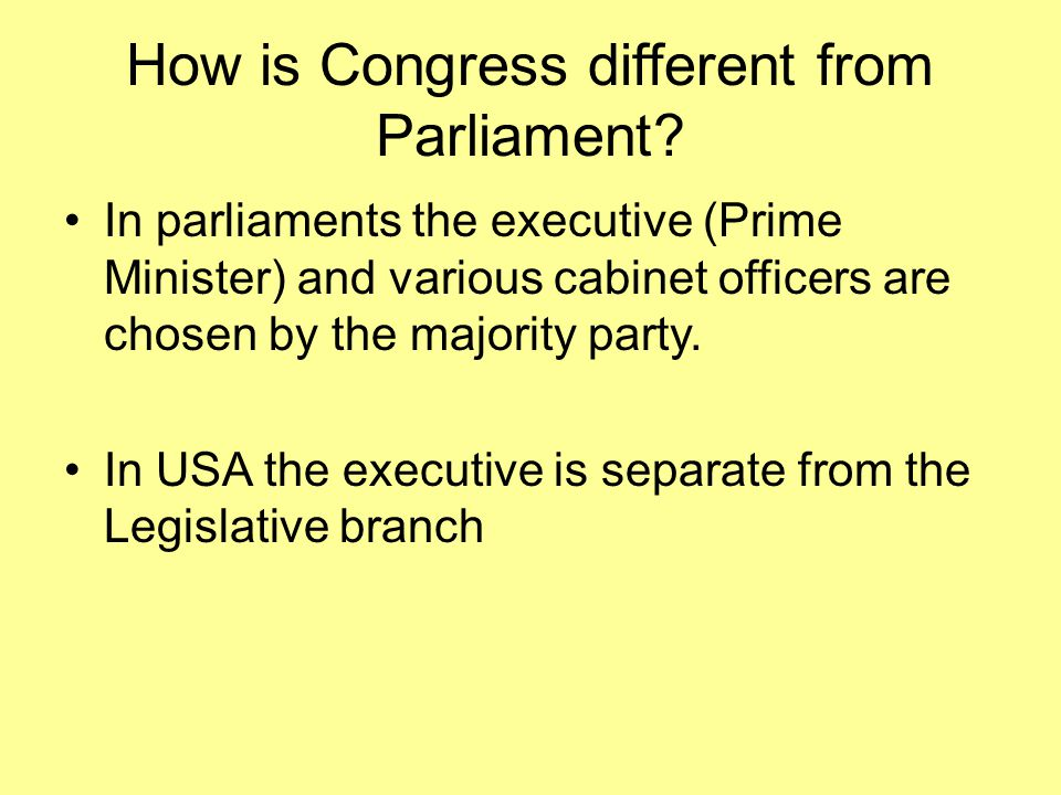 How is Congress different from Parliament.