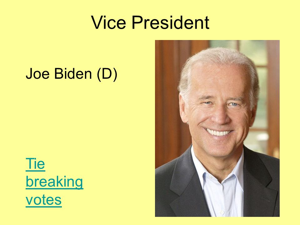 Vice President Joe Biden (D) Tie breaking votes
