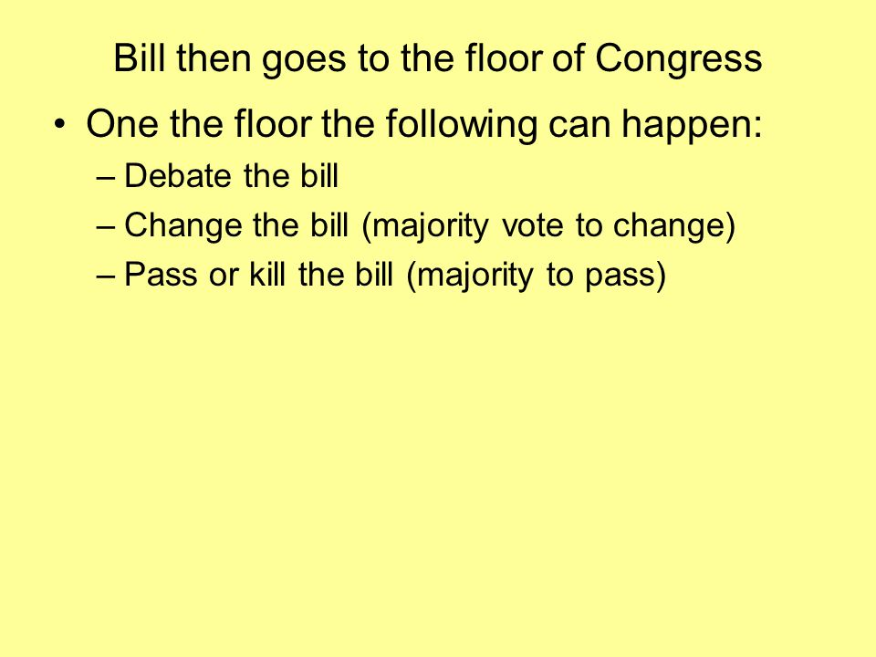 Bill then goes to the floor of Congress One the floor the following can happen: –Debate the bill –Change the bill (majority vote to change) –Pass or kill the bill (majority to pass)